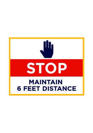 Stop Maintain 6 Feet Distance